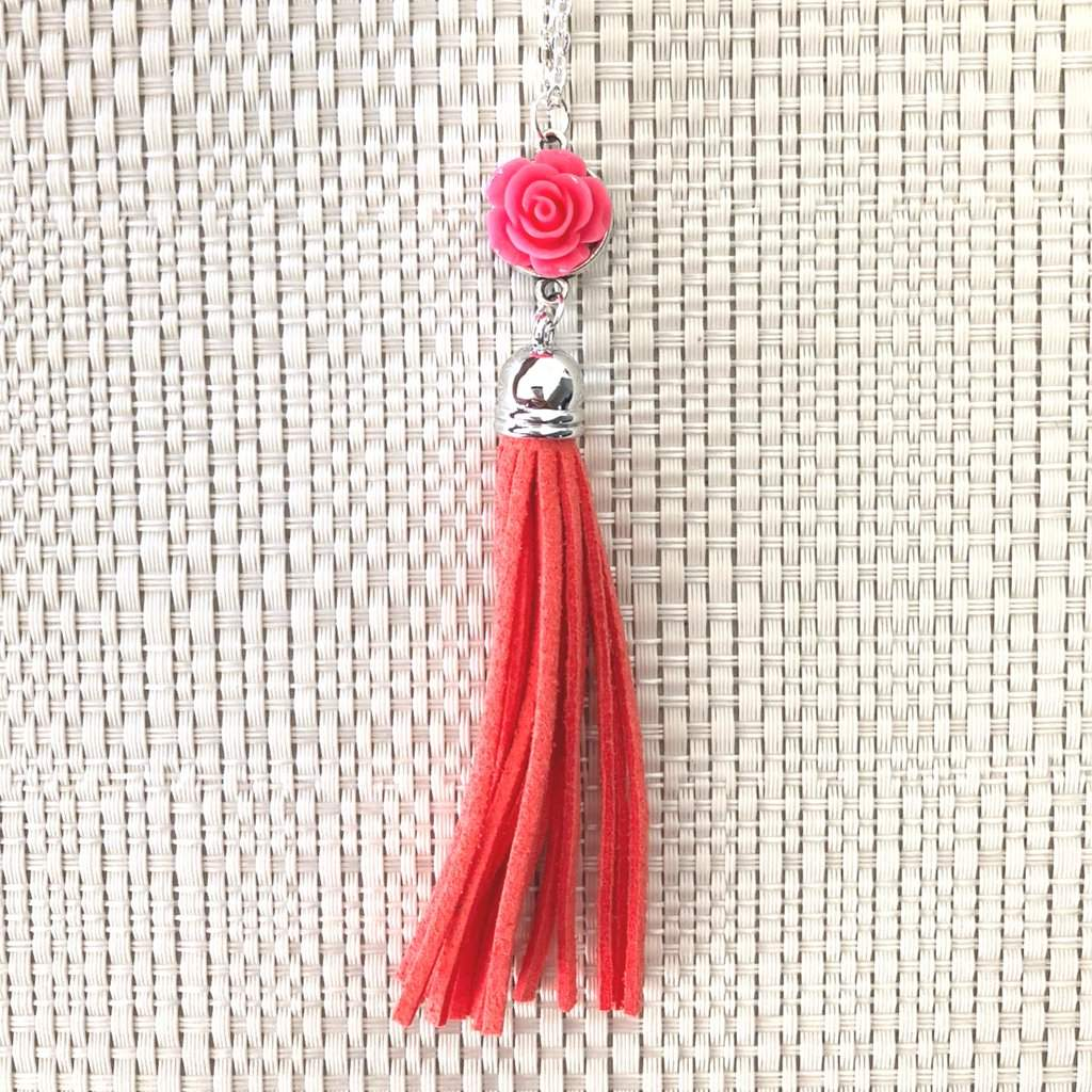 Pink Rose Flower and Tassel Long Necklace - JaeBee Jewelry