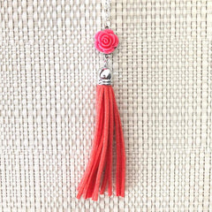 Pink Rose Flower and Tassel Long Necklace