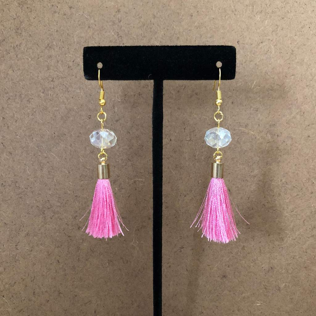 Pink Tassel and Clear Crystal Dangle Earrings - JaeBee Jewelry