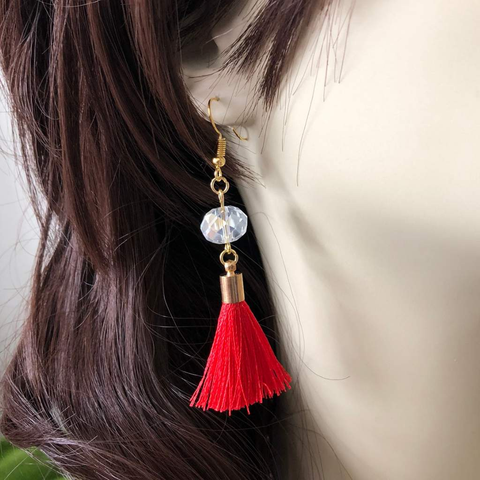 Red Tassel and Clear Crystal Dangle Earrings