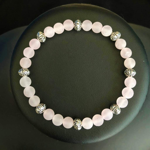 Rose Quartz Matte Beaded Bracelet
