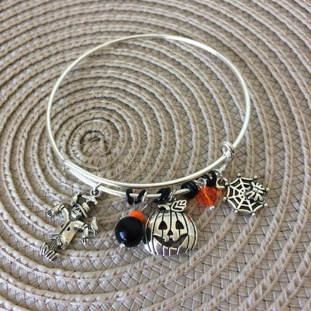 Halloween Pumpkin, Scarecrow, and Spider Web Bangle Bracelet - JaeBee Jewelry