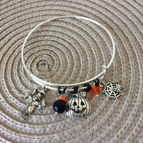Halloween Pumpkin, Scarecrow, and Spider Web Bangle Bracelet
