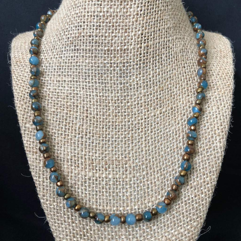 Sea Blue Opal And Bronzite Mens Beaded Necklace