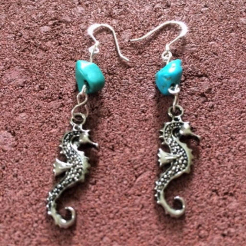 Silver Seahorse Dangle Earrings