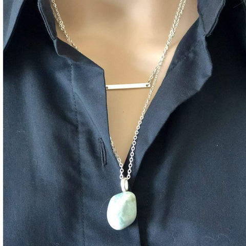 Silver Layered Bar and Natural Stone Pendant Necklace