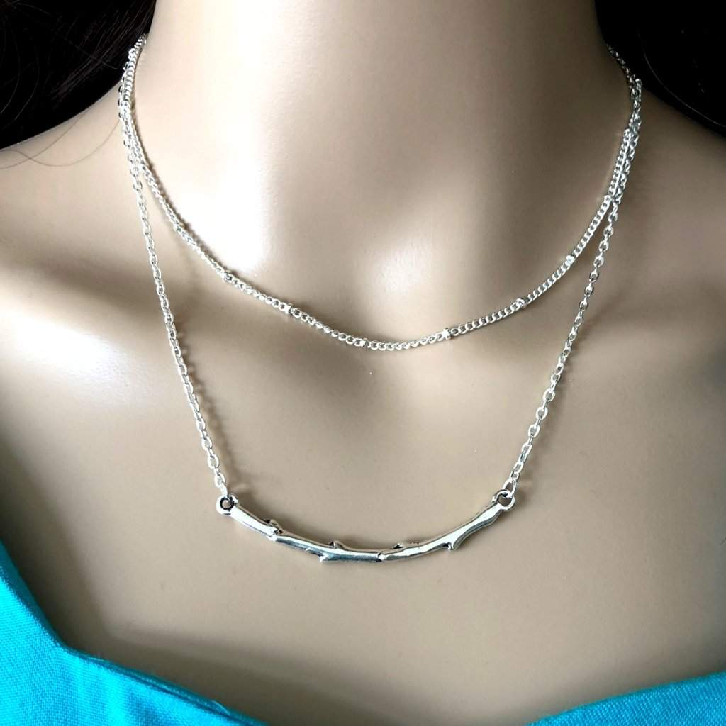 Long Silver Layered Stone and Silver Branch Necklace - JaeBee Jewelry