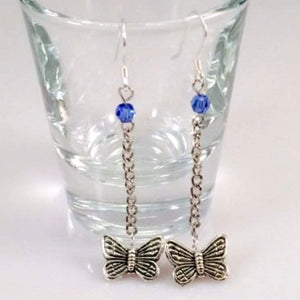 Silver Butterfly Dangle Earrings - JaeBee Jewelry