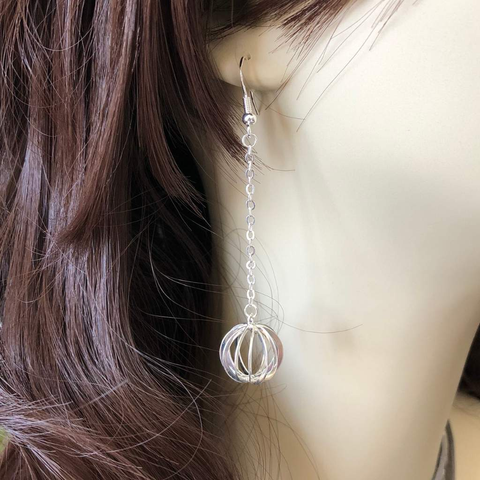 Silver Cage Long Dangle Earrings