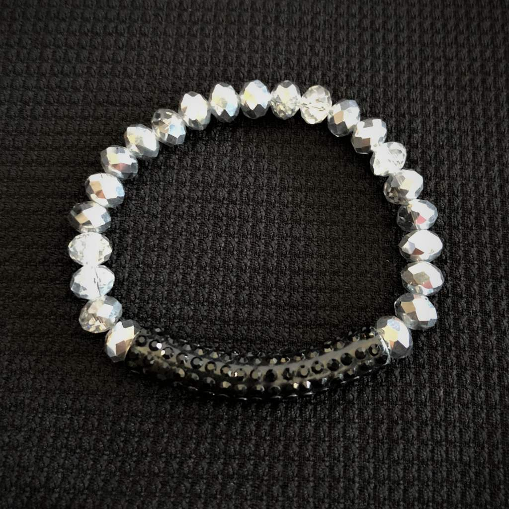 Silver Crystal Beaded Bracelet  with Black Crystal Bar - JaeBee Jewelry