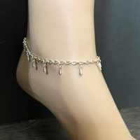 Silver Drop Chain Anklet