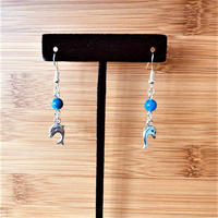 Silver Dolphins and Blue Agate Beaded Earrings