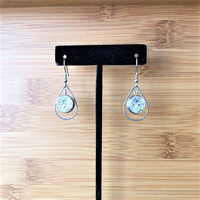 Silver Druzy Teardrop Dangle Earrings - JaeBee Jewelry