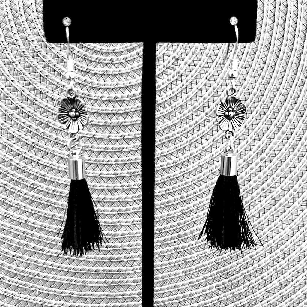 Antique Silver Flower with Black Tassel Dangle Earrings - JaeBee Jewelry