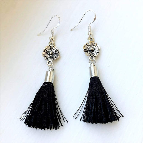 Antique Silver Flower with Black Tassel Dangle Earrings