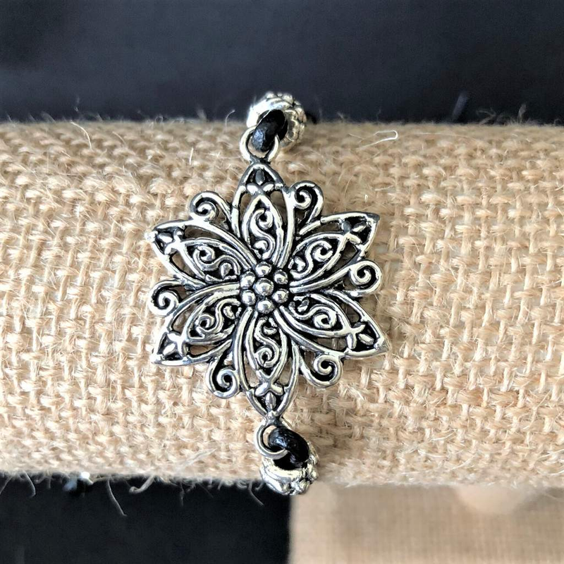 Silver Flower Black Leather Adjustable Bracelet - JaeBee Jewelry