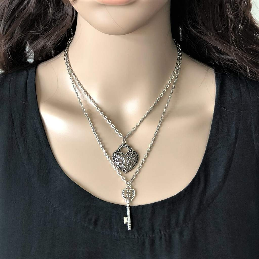 Silver Heart and Key Layered Necklace - JaeBee Jewelry
