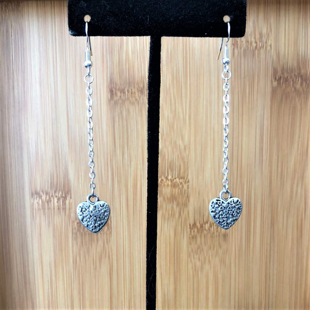 Silver Heart Long Dangle Earrings - JaeBee Jewelry