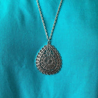 Silver Ornate Layered Long Teardrop Pendant Necklace