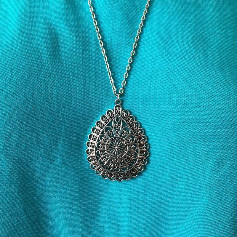 Silver Ornate Layered Long Teardrop Pendant Necklace - JaeBee Jewelry