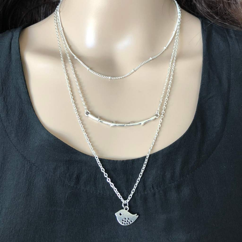 Layered Branch and Dove Silver Necklace - JaeBee Jewelry
