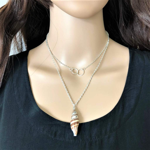 Silver Layered Shell Necklace