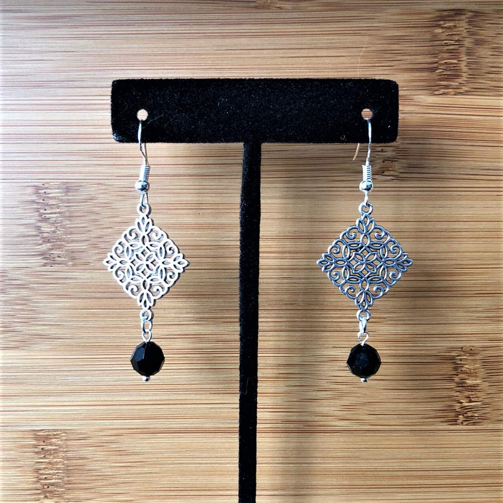 Silver Ornate Diamond and Black Crystal Dangle Earrings - JaeBee Jewelry