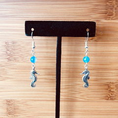 Silver Seahorse and Blue Agate Beaded Earrings