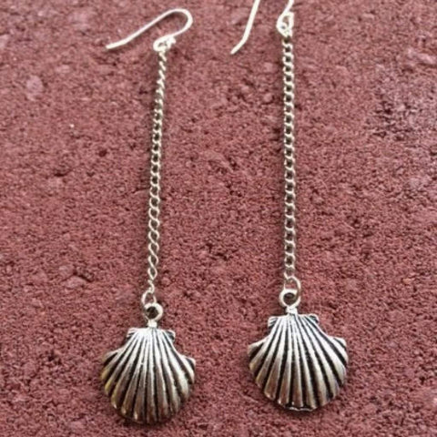 Silver Shell Long Dangle Earrings