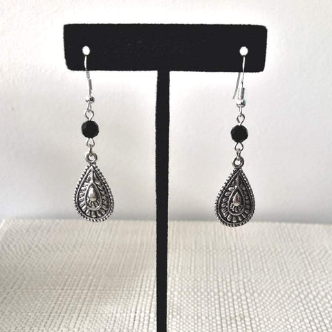 Silver Teardrop and Black Crystal Drop Earrings