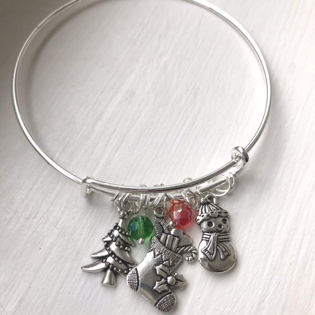 Christmas Tree, Christmas Stocking, and Snowman Silver Bangle Bracelet - JaeBee Jewelry