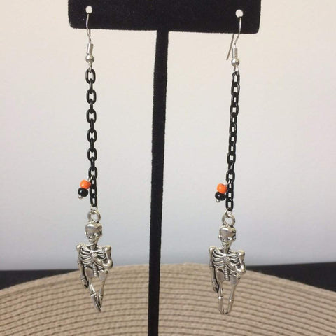 Skeleton Halloween Long Dangle Earrings