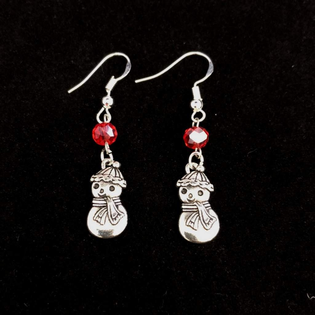 Christmas Silver Snowman Dangle Earrings - JaeBee Jewelry
