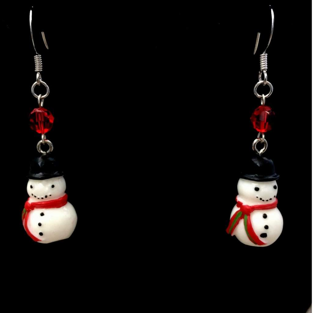 Snowman Christmas Dangle Earrings