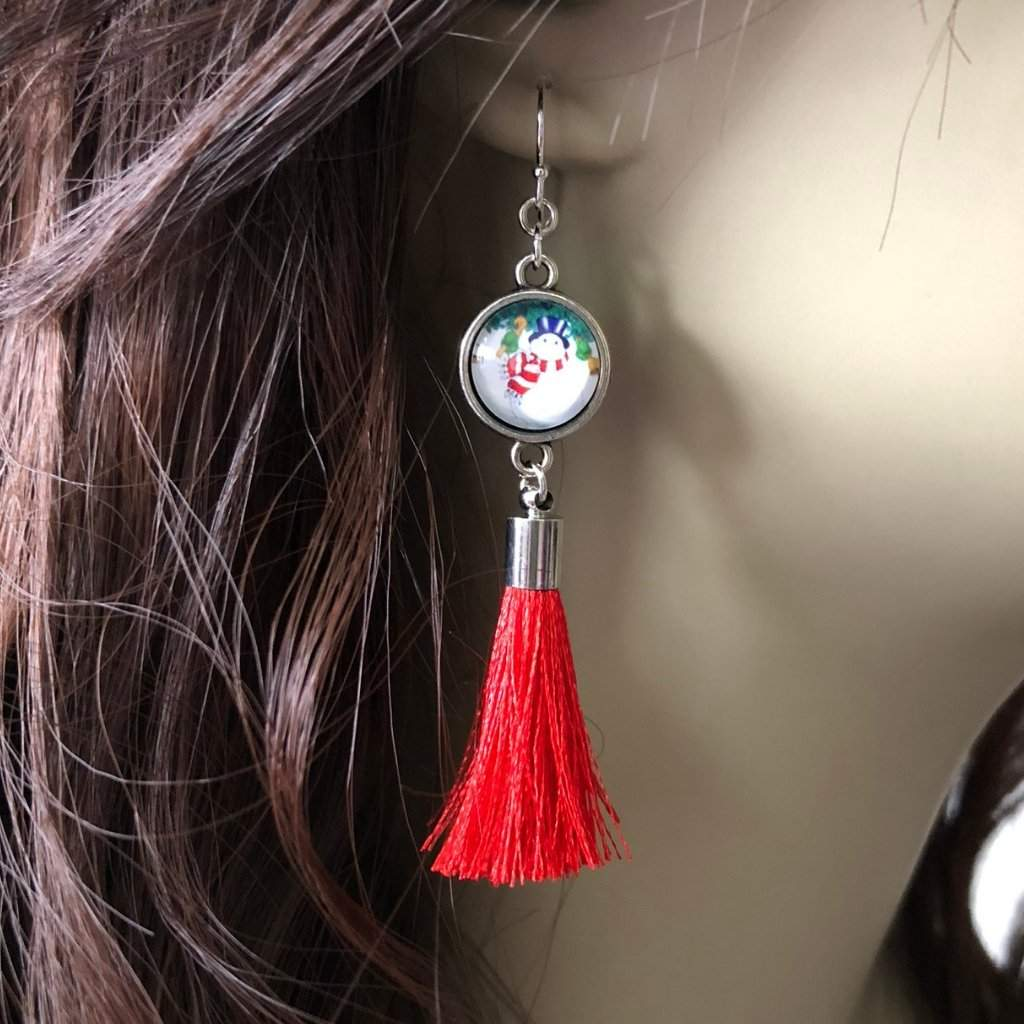 Christmas Snowman and Red Tassel Dangle Earrings - JaeBee Jewelry