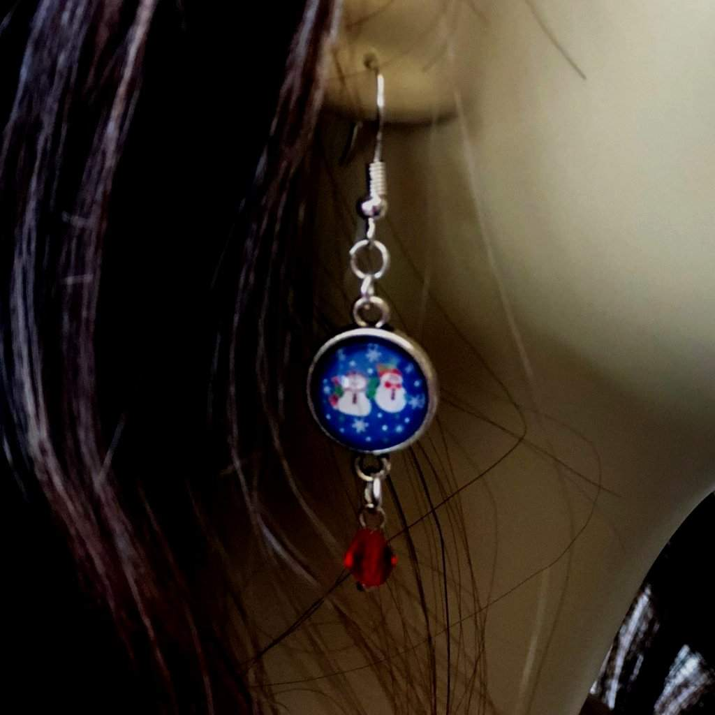 Snowmen Cabochon Dangle Silver Earrings