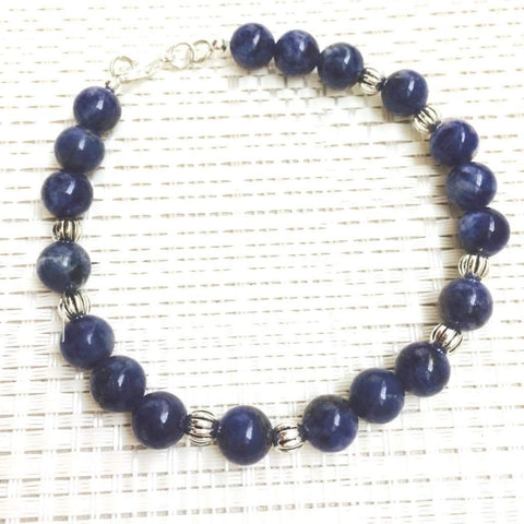 Blue Sodalite Men's Beaded Bracelet