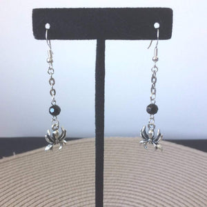Halloween Silver Spider Dangle Earrings - JaeBee Jewelry