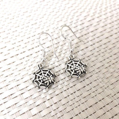 Halloween Spider on Spiderweb Dangle Earrings - JaeBee Jewelry