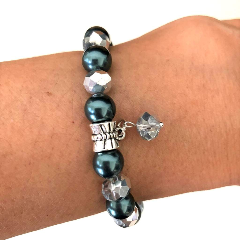 Tahitian Swarovski Pearl and Silver Crystal Beaded Bracelet