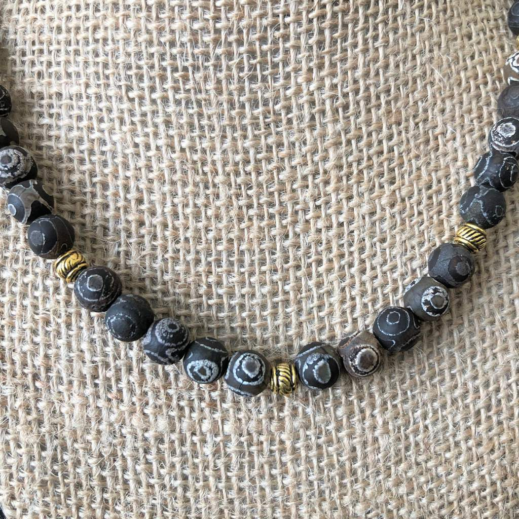 Black and Gray Swirl Matte Agate Mens Beaded Necklace - JaeBee Jewelry