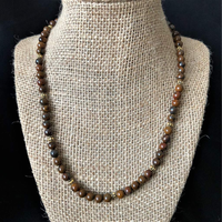 Tiger Iron Brown Mens Beaded Necklace - JaeBee