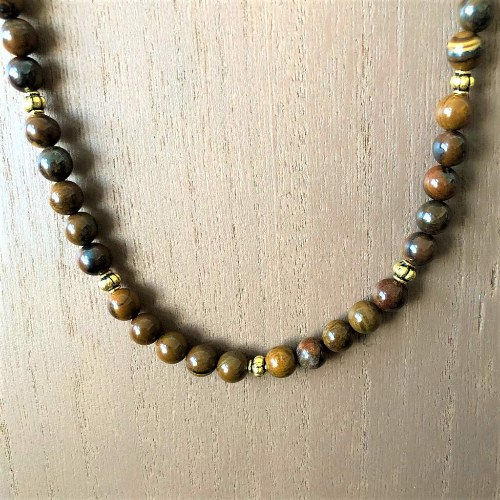 Tiger Iron Brown Mens Beaded Necklace