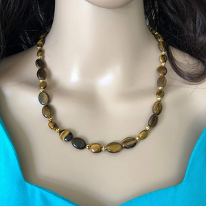 Womens Tigers Eye Oval Beaded Necklace - JaeBee Jewelry