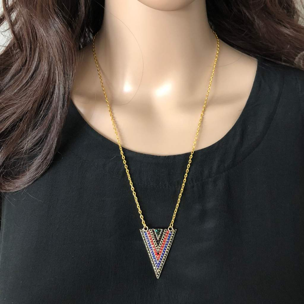 Multi Color Triangle Pendant
