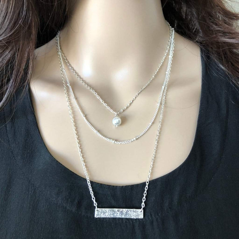 Silver Triple Layered Bar and Pearl Necklace - JaeBee Jewelry