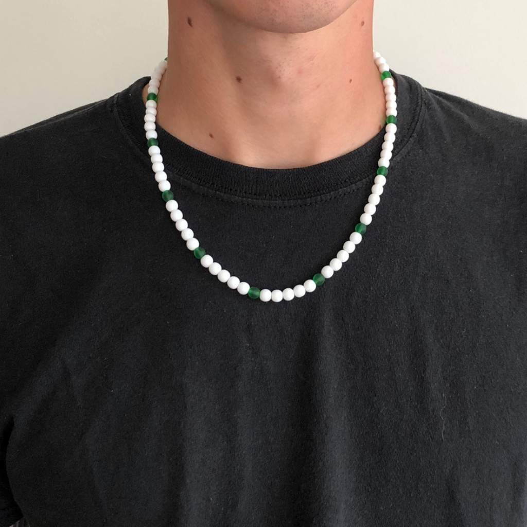 White and Green Beaded Mens Necklace - JaeBee Jewelry