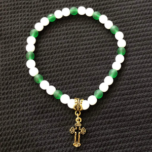 Matte Green and White Beaded Gold Cross Bracelet - JaeBee Jewelry