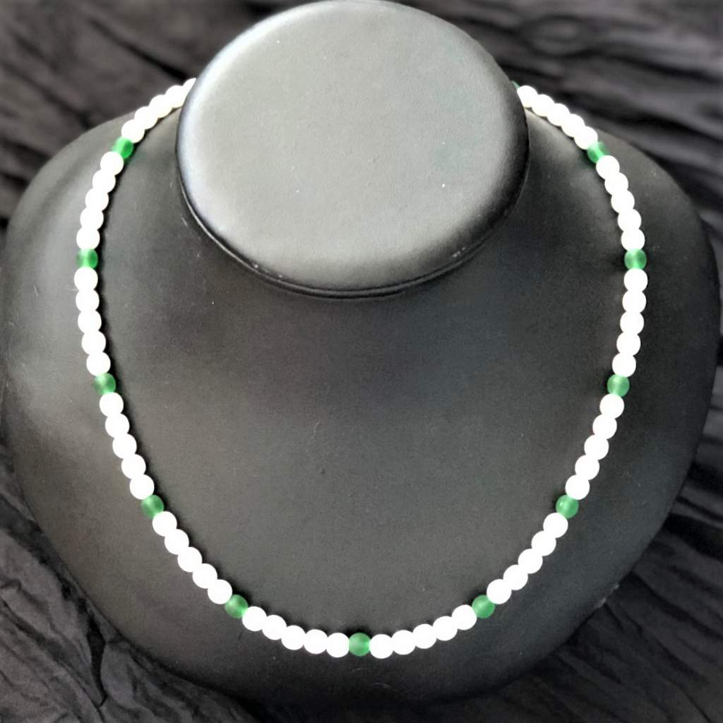 White and Green Beaded Mens Necklace
