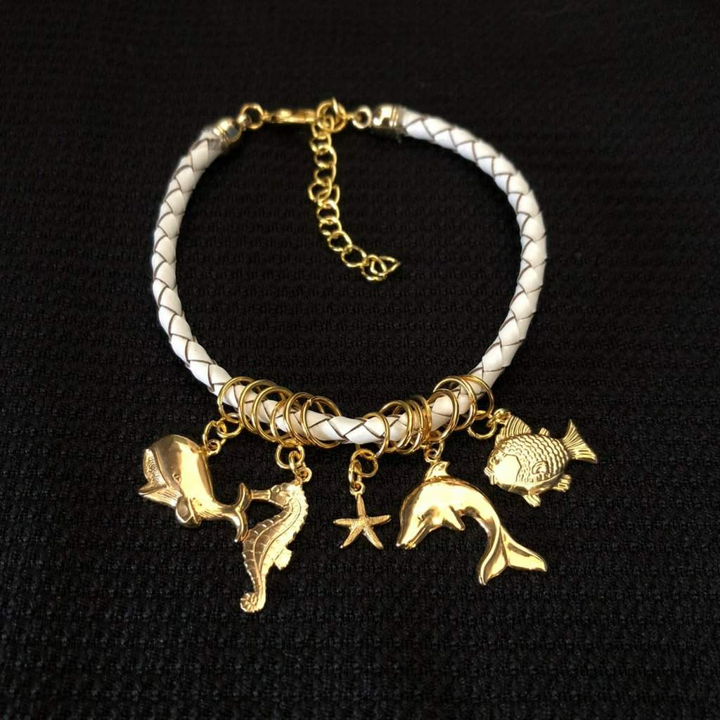 White Leather Bangle Bracelet with Gold Sea Life Charms